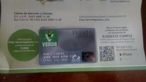 Tarjeta Partido Verde