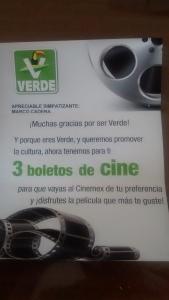Boletos de cine Partido Verde
